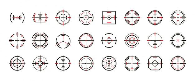 Sniper vista vector negro conjunto de iconos. ilustración vectorial vista y objetivo. objetivo de ojo icono negro aislado
