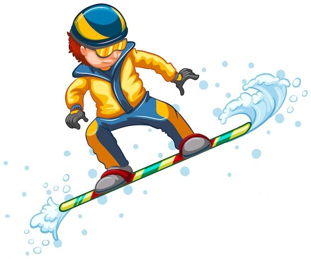 Snowboard saltando aislado en blanco