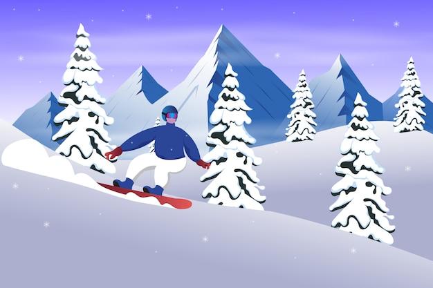 Snowboarder deslizándose desde la montaña en la ilustración de invierno