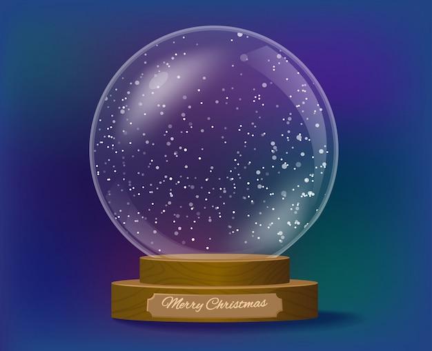 Snowglobe regalo de navidad con base de madera.