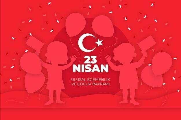Soberanía nacional e ilustración del día del niño con globos y confeti.