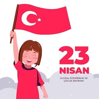 Soberanía nacional e ilustración del día del niño con niña y bandera.