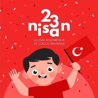 Soberanía nacional e ilustración del día del niño con niño y bandera.