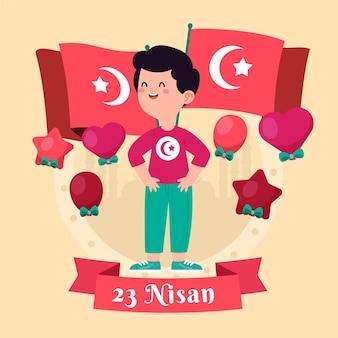 Soberanía nacional e ilustración del día del niño con niño y banderas.