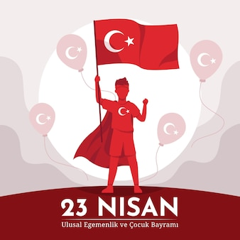 Soberanía nacional e ilustración del día del niño con niño sosteniendo bandera