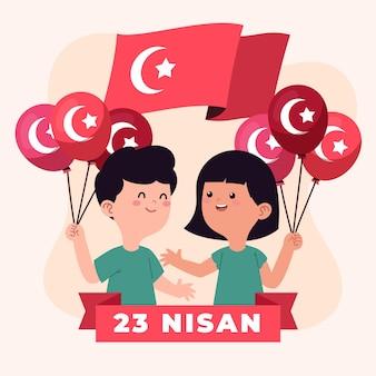 Soberanía nacional e ilustración del día del niño con niños y bandera.