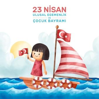 Soberanía nacional y niño en barco