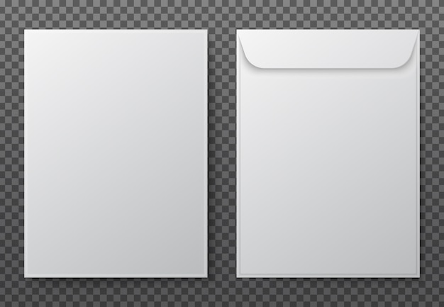 Sobre a4. sobres de papel blancos en blanco para documentos verticales