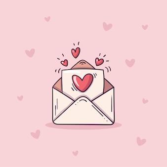 Sobre abierto con carta de amor en estilo doodle sobre fondo rosa con corazones.