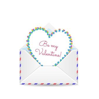 Sobre abierto de san valentín con corazón de papel