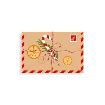 Sobre de año nuevo con dulces, rama de árbol de navidad. carta de navidad en estilo plano