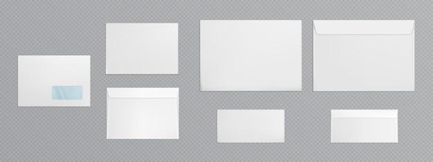Sobre blanco con ventana transparente