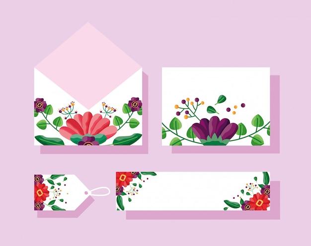 Sobre de boda, tarjeta, etiqueta y etiqueta con diseño de flores