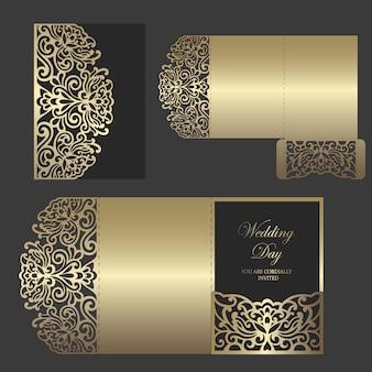 Sobre de bolsillo triple plegado con láser para invitaciones de boda. maqueta de invitación de boda ornamental. diseño de sobre de bolsillo.