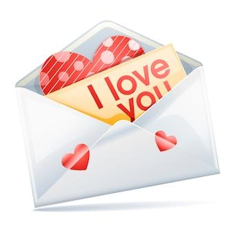 Sobre de carta de amor aislado sobre fondo blanco.
