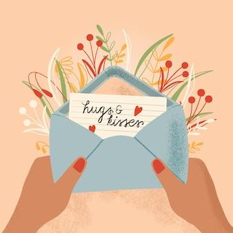 Sobre con carta de amor y manos. ilustración colorida dibujada a mano con letras a mano para el día de san valentín feliz. tarjeta de felicitación con flores y elementos decorativos.