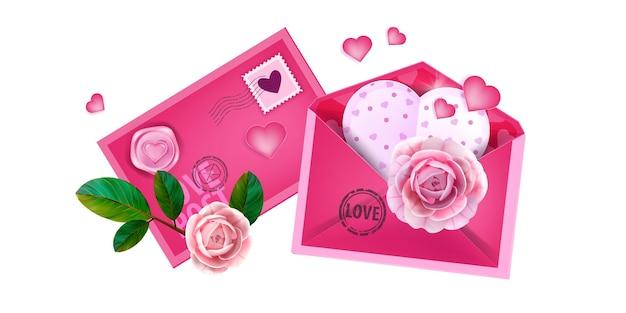 Sobre de carta de amor de san valentín, tarjeta o correo, ilustración con postal en forma de corazón, rosas en flor, sello.