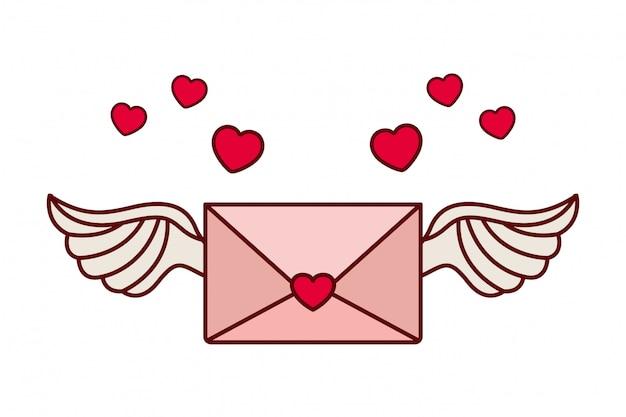 Sobre de la carta con el icono de corazón aislado