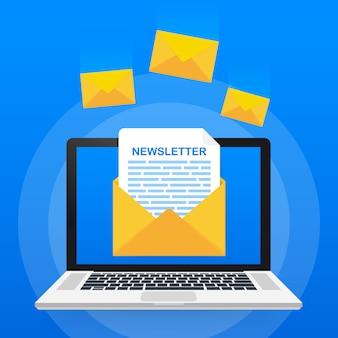 Sobre con un concepto de boletín. mensaje abierto con el documento. suscríbase al concepto de boletín informativo