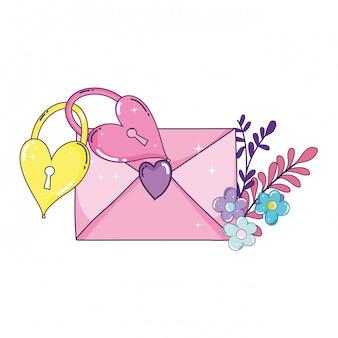 Sobre corazón con flores y candados.