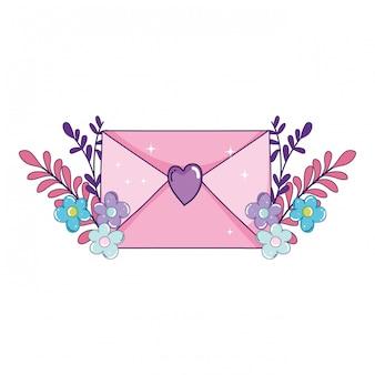 Sobre con corazón y flores.