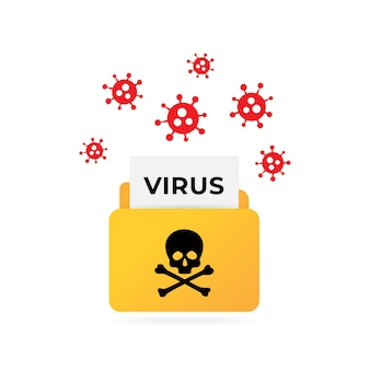 Sobre correo con carta de virus recibiendo una carta pirateada o infectada