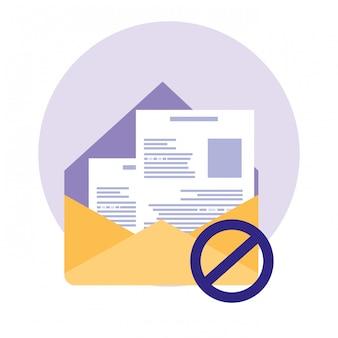 Sobre de correo con documento y letrero prohibido