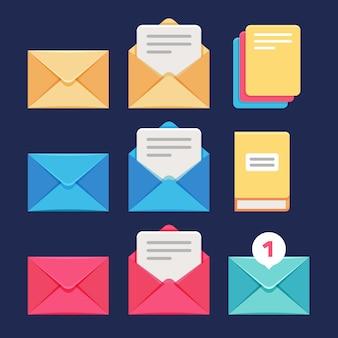 Sobre, correo electrónico y carta iconos vectoriales. correspondencia postal y simbolos mms.
