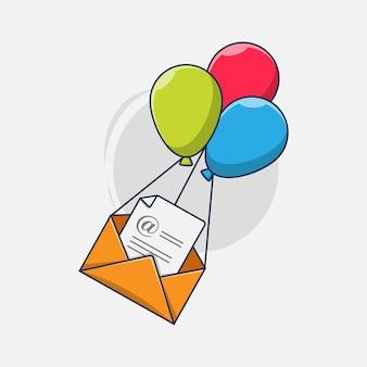 Sobre de correo electrónico de vuelo básico con ilustración de icono de globo
