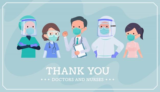 Sobre covid19_gracias doctor enfermera parte superior del cuerpo