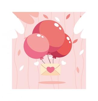 Sobre con globos de helio, tarjeta del día de san valentín