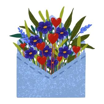 Sobre de ilustración escrito con flores y corazones rojos para el día de san valentín
