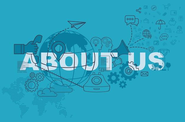 Sobre nosotros el concepto de banner de sitio web con diseño plano de línea delgada
