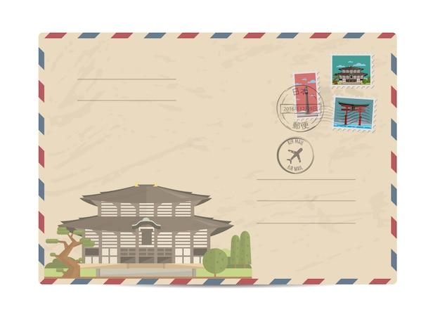 Sobre postal vintage con sellos de japón