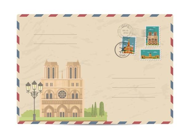Sobre postal vintage con sellos
