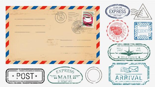 Sobre realista con varios sellos conjunto ilustración