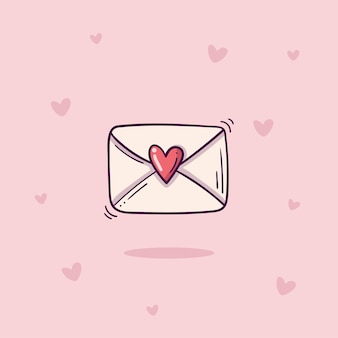 Sobre con sello de corazón en estilo doodle sobre fondo rosa con corazones
