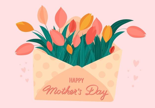 Sobre de tarjeta de felicitación de feliz día de las madres con tulipanes