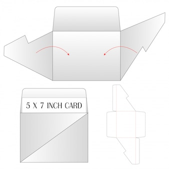 Sobre troquelado maqueta ilustración vectorial plantilla.