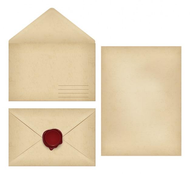 Sobre vintage, papel de carta, sello de cera