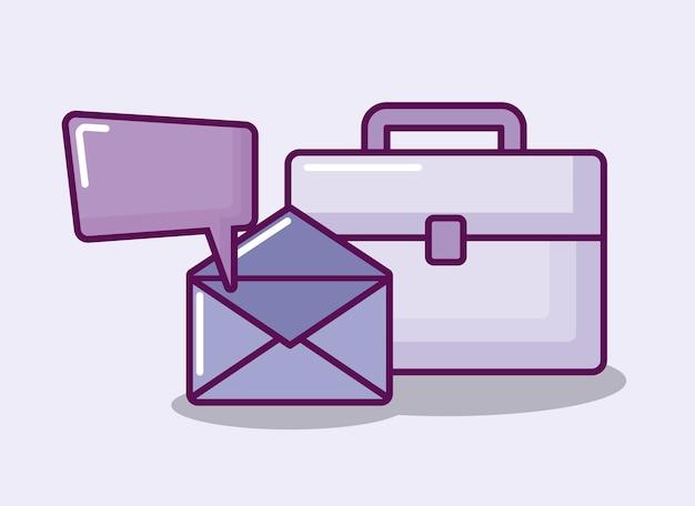 Sobres de correo con portafolio y bocadillo de diálogo.