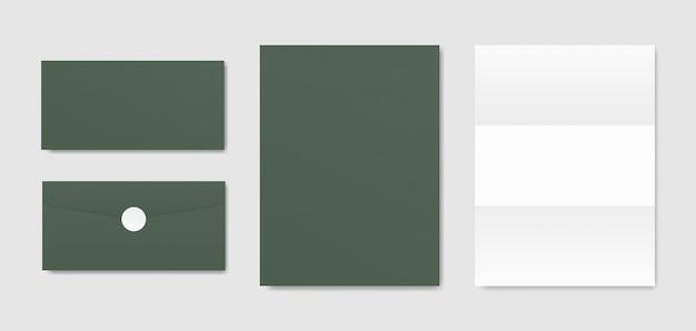 Sobres y papeles. branding papelería maqueta escena. diseño de identidad corporativa.