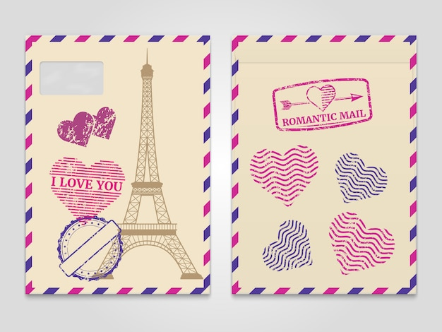 Torre Eiffel En París Tarjeta Postal Vector Gratis