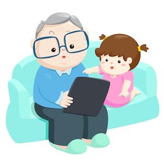 Sobrina juega la tableta con la ilustración del vector del abuelo.