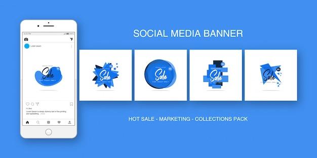 Social media banner instagram azul colecciones pack