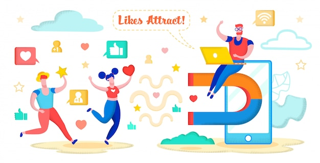 Social media marketing, atraer corazones, estrellas.