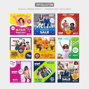Social media post instagram template kids sale