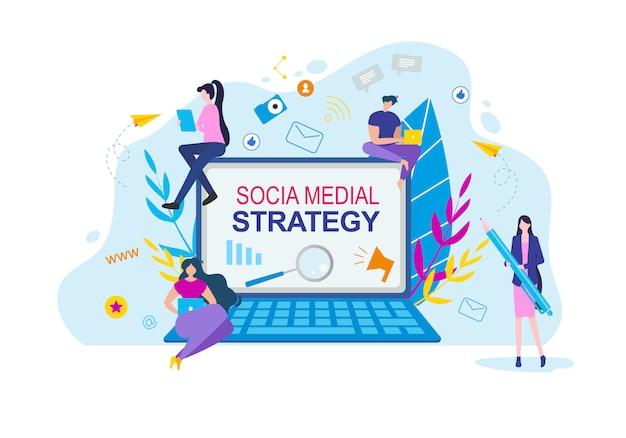 Social media strategy cartoon people con notebook