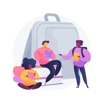 Socialización de la ilustración del concepto abstracto de alumnos. socialización en el aula, programa de inclusión, entorno escolar, interacción social de los alumnos, los compañeros juegan juntos