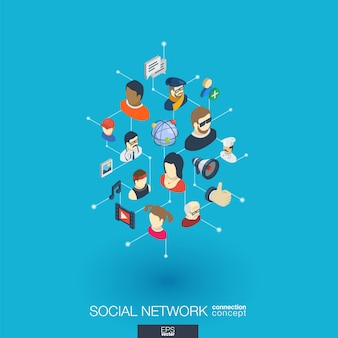 Sociedad integrada de iconos web. concepto de interacción isométrica de red digital. sistema de línea y punto gráfico conectado. fondo abstracto para redes sociales, comunicación de personas. infografía